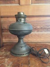 Antique Brass Oil Table Lamp Electrified