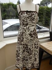 BNWT WHITE & BROWN FLORAL STYLE COTTON SUMMER DRESS BONED TOP Sz 12/14