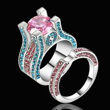Size 7 Women's Pink Sapphire Engagement &Wedding Ring Set 10Kt White Gold Filled