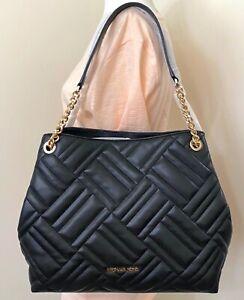 Michael Kors Women Peyton Black QUILTED Vegan Leather Chain Shoulder Bag