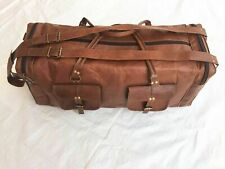 Men's Genuine Pure Leather Gym Bag Travelling Luggage Overnight Duffle bag