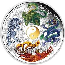 Tuvalu 2014 Ancient Chinese Mythical Creatures Yin & Yang $5 5 Oz Silver Proof