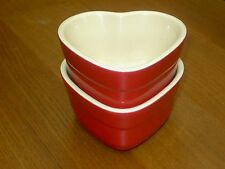 2 x Le Creuset Small Heart Shaped Red Ramekin's New Unused . Free UK Postage