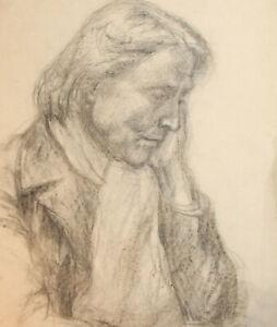 Vintage impressionist pencil painting portrait
