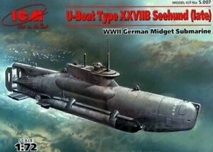 "ICM S007 - 1/72 ""Seehund"" type XXVII German submarine, Plastic model kit 165 mm"