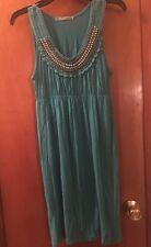 Women's Small Green Maurice's Dress Beaded Neck Sleeveless Sundress