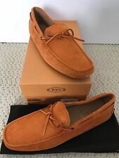 NIB Auth Tod's Orange Suede Gommino Driving Moccasin Loafers Sz 9 US 10 $495