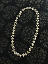 VINTAGE HEART NECKLACE REPEATING HEART HEAVY GOLD TONE COSTUME JEWELRY