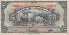 VERY NICE BANKNOTE FROM NICARAGUA 5 CORDOBAS  YEAR 1945  (RARE)