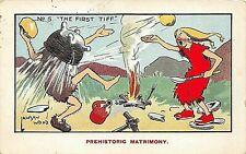 POSTCARD COMIC - PREHISTORIC MATRIMONY - THE FIRST TIFF - NO 5 - LAWSON WOOD
