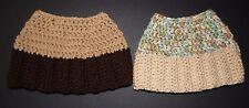 Lot of 2 Hand Crochet Tan & Brown/ Lt Tan & multi Color Messy Bun Hat (HT 85)