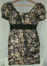 Kate Fearnley Boutique gold Metallic floral  Party Prom Evening Dress UK 12