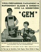 Publicité ancienne sorbetière GEM 1925 issue de magazine