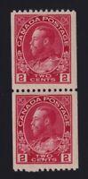 Canada Sc #132 (1915-24) 2c carmine Admiral COIL PAIR Mint H/NH