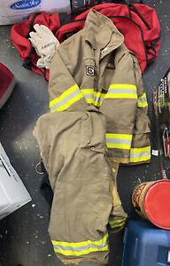 Firefighter Turnout Suit; Jacket Pants Gloves Bag 2XL