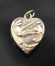 "Vtg. Sterling Silver 925 Dove With Olive Branch Puffy Heart Engraved ""Loide"""