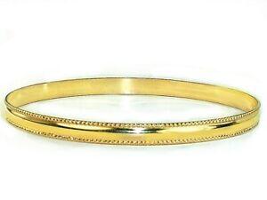 Vintage Mirror Polish Domed Gold Bangle Bracelets Gold Filled 1/20 14K Bangles