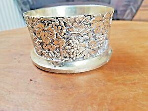 vintage embossed heavy silverplate wine holder