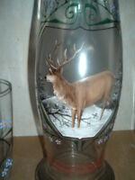 große Jugendstil Karaffe Krug + 4 Gläser mit Hirsch, emailliert Jagdkrug