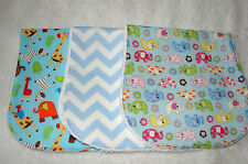 Set of 3 Burp Cloths White Hungry Caterpillar Handmade