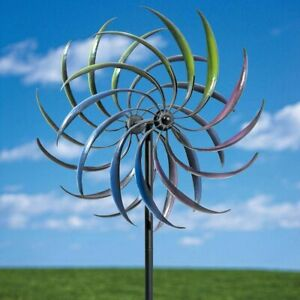 Large 3-Dimensional Airbrushed Tri-Colored Kinetic Garden Wind Spinner Stake