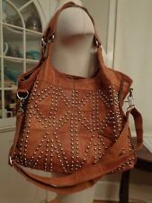 AmeriLeather silver tone studded hobo shoulder bag 100% genuine leather patchwor