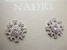 NEW Authentic $50  Nadri Rhodium plated CZ Lacy Post Earrings signed