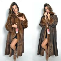 BROWN SAGA MINK LONG TRENCH FUR COAT CLASS- JACKET CHINCHILLA FOX SABLE VEST