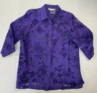 Allison Daley Size 12 Purple 3/4 Sleeve Button Up Blouse Sheer Lace Floral