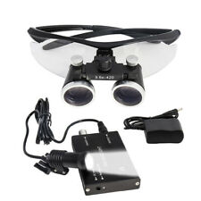 Dental Loupe Surgical Binocular Len Magnifier 3.5x420 Loupe 5W Headlight Black