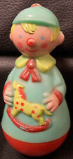 Rolly Poly Boy Holding Hobby Horse, Rattle, Stahlwood Toy Company
