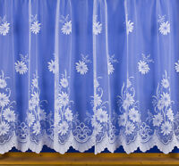 White Net Curtain - Floral - All Sizes Available