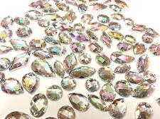 CraftbuddyUS 80 AB Clear Faceted Acrylic Sew On Diamante Crystal Rhinestone Gems