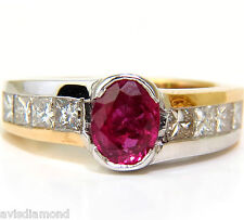 █$6000 2.66CT NATURAL FINE GEM RUBY DIAMOND RING PRINCESS CUT ACCENTS 14KT█