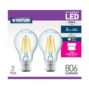 Status LED 6w = 60w, Filament Bulb, Warm White, Non-Dimmable,B22 Bayonet, 2 Pack