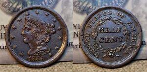 1855 Braided Hair Half Cent 1c Great Details Environmental Damage