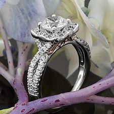 Halo Pave 1.22 Carat VS2/H Round Cut Diamond Engagement Ring 14k White Gold