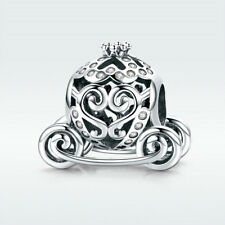 925 Sterling Silver Charm Bead Pumpkin Carriage with CZ For Princess Bracelet