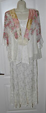 Violet Kay SPENCER ALEXIS ivory tank skirt Rose Lace jacket 3-pc Set L XL P $279