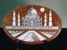 "Vintage Valentine Taj Mahal Inlaid Hand Carved 10"" Oval Solid Wood Wall Plaque"