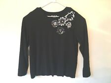 cato womens tshirt plus size 22/24W black with black white flowers l. sleeve