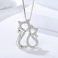 Anhänger für Halskette Katzen Mutter   Kind echt Silber 925 Zirkonia Damen bd68703752