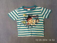 Boys 2-3 Years - Blue & White Striped T-Shirt with Disney Jake & Pirates Motif