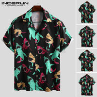Summer Men's Beach Style Hawaiian Short Sleeved Floral Printed Tops Casual Shirt
