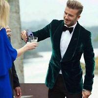 Men's Green Suit Blazer Velvet Evening Party Wear Coat Wedding Groom Jacket Pant