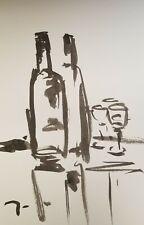 JOSE TRUJILLO MODERNIST IMPRESSIONISM ABSTRACT INK WASH STILL LIFE WINE BOTTLES