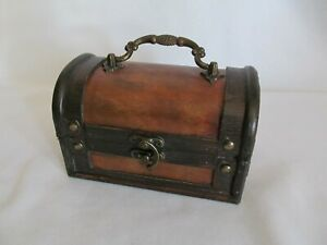Mini Treasure Chest Small Trunk Box Vintage Style Jewelry Watch Storage!!
