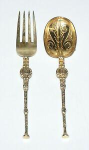 1933 UK London Sterling Silver baby Spoon & Fork by James Deakin & Sons (AkC) L7