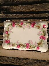 Limoges Porcelain France Bawo Dotter Floral Carnations Dresser Tray