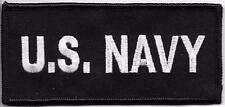 "4.5"" US NAVY White Black Embroidery Patch VELCRO® BRAND Hook Fastener Compatible"